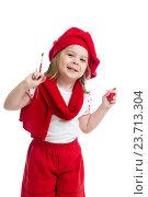 Купить «kid girl in artist costume isolated», фото № 23713304, снято 22 апреля 2013 г. (c) Оксана Кузьмина / Фотобанк Лори