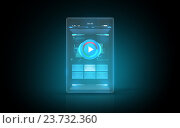 Купить «glowing virtual tablet with buttons on screen», иллюстрация № 23732360 (c) Syda Productions / Фотобанк Лори