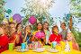 Funny kids cheering birthday girl at summer park, фото № 23737228, снято 26 июня 2016 г. (c) Сергей Новиков / Фотобанк Лори