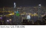 Город Гонконг в ночное время, вид с пика Виктория, Timelapse (2016 год). Редакционное видео, видеограф Михаил Коханчиков / Фотобанк Лори