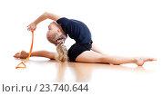 Купить «young girl doing gymnastics over white background», фото № 23740644, снято 6 февраля 2012 г. (c) Оксана Кузьмина / Фотобанк Лори