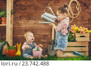 Купить «girls gardening in the backyard», фото № 23742488, снято 15 февраля 2016 г. (c) Константин Юганов / Фотобанк Лори