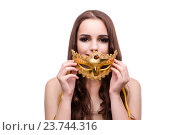 Купить «Woman with carnival mask isolated on white», фото № 23744316, снято 24 августа 2016 г. (c) Elnur / Фотобанк Лори