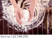 Купить «Cook preparing dough for baking in the kitchen», фото № 23744376, снято 2 июня 2016 г. (c) Elnur / Фотобанк Лори