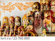 Купить «Rows of vibrant and colourful wooden Russian puzzle dolls created in Russia», фото № 23760800, снято 15 октября 2019 г. (c) age Fotostock / Фотобанк Лори