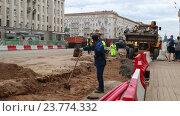 Реконструкция Тверской улицы в Москве летом 2016 года. Редакционное видео, видеограф Nadya S. / Фотобанк Лори
