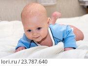 Купить «Малыш лежит на животе», фото № 23787640, снято 24 февраля 2015 г. (c) Андрей Некрасов / Фотобанк Лори