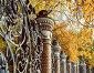 Михайловский сад и художественная металлическая ограда в обрамлении осенних деревьев, Санкт-Петербург, Россия. Осенний городской пейзаж, фото № 23790572, снято 3 октября 2016 г. (c) Зезелина Марина / Фотобанк Лори