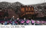 Купить «Церковный орган в финской церкви Темппелиаукио. Храм, вырубленной в скале. Хельсинки, Финляндия», видеоролик № 23800796, снято 7 октября 2016 г. (c) Кекяляйнен Андрей / Фотобанк Лори