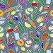 Бесшовный фон - овощи и фрукты, кухонная посуда, иллюстрация № 23802936 (c) Наталья Загорий / Фотобанк Лори