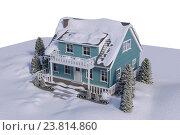 Купить «High angle view of house covered in snow», фото № 23814860, снято 17 июля 2019 г. (c) Wavebreak Media / Фотобанк Лори