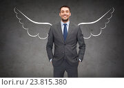Купить «happy businessman with angel wings over gray», фото № 23815380, снято 17 ноября 2018 г. (c) Syda Productions / Фотобанк Лори