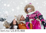 Купить «happy family with child in winter clothes outdoors», фото № 23815468, снято 23 января 2016 г. (c) Syda Productions / Фотобанк Лори