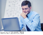 Купить «businessman sitting with laptop in office», фото № 23815764, снято 25 октября 2014 г. (c) Syda Productions / Фотобанк Лори