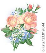 Букет желтых роз. Стоковая иллюстрация, иллюстратор Марина Глянь / Фотобанк Лори