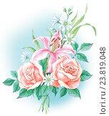 Розы и лилия. Стоковая иллюстрация, иллюстратор Марина Глянь / Фотобанк Лори