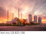Купить «Грозный. Центральная мечеть Сердце Чечни имени Ахмата Кадырова и комплекс высотных зданий Грозный Сити», эксклюзивное фото № 23821136, снято 21 сентября 2016 г. (c) Литвяк Игорь / Фотобанк Лори