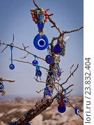 Turkish evil eye hanging from tree branch in Cappadocia. Стоковое фото, фотограф Creatista / easy Fotostock / Фотобанк Лори