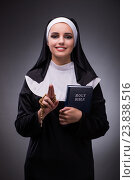 Купить «Religious nun in religion concept against dark background», фото № 23838516, снято 27 июля 2016 г. (c) Elnur / Фотобанк Лори