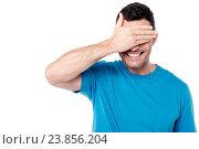 Купить «Shy middle aged man hiding face with his hand», фото № 23856204, снято 16 октября 2014 г. (c) easy Fotostock / Фотобанк Лори