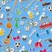 Бесшовный фон на тему мужское хобби и привычки, простые иконки на синем фоне, иллюстрация № 23860144 (c) Наталья Загорий / Фотобанк Лори