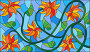 Иллюстрации в стиле витражного стекла с абстрактными оранжевыми цветами на синем фоне, иллюстрация № 23860148 (c) Наталья Загорий / Фотобанк Лори