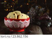 Домашнее рождественское печенье с клюквой. Стоковое фото, фотограф Оксана Голева / Фотобанк Лори