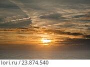 Вид на закате на Атлантический океан с Мыса Рока (Cabo da Roca). Португалия (2016 год). Стоковое фото, фотограф E. O. / Фотобанк Лори