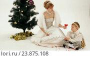 Купить «Мама с маленьким сынов в роскошных костюмах рядом с новогодней елкой», видеоролик № 23875108, снято 1 июля 2015 г. (c) Tatiana Kravchenko / Фотобанк Лори