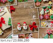 Купить «Collage with decorated Christmas cookies.», фото № 23886280, снято 19 декабря 2018 г. (c) Tatjana Baibakova / Фотобанк Лори