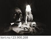 Купить «Натюрморт с черепом и свечой», фото № 23900268, снято 18 февраля 2019 г. (c) Victoria Demidova / Фотобанк Лори