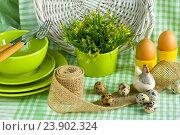 Пасхальная композиция с яйцами на столе. Стоковое фото, фотограф Елена Лобовикова / Фотобанк Лори