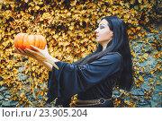 Купить «Женщина в образе ведьмы держит в руках тыкву и любуется ею», фото № 23905204, снято 11 сентября 2016 г. (c) Emelinna / Фотобанк Лори