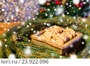 Купить «natural green fir christmas wreath and oat cookies», фото № 23922096, снято 1 октября 2015 г. (c) Syda Productions / Фотобанк Лори
