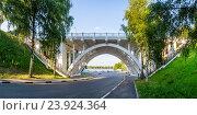 Купить «Ярославль. Пешеходный мост около речного вокзала», фото № 23924364, снято 3 июля 2011 г. (c) Дмитрий Тищенко / Фотобанк Лори