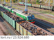 Купить «The railway freight wagons. Trains of the Russian Railways company (RZhD)», фото № 23924680, снято 8 октября 2016 г. (c) FotograFF / Фотобанк Лори