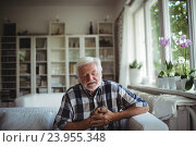 Купить «Senior man suffering from chest pain», фото № 23955348, снято 1 июля 2016 г. (c) Wavebreak Media / Фотобанк Лори