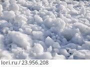 Купить «Lumps of snow and ice frazil on the surface of the freezing river water in early winter», фото № 23956208, снято 2 ноября 2014 г. (c) Serg Zastavkin / Фотобанк Лори