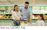 Купить «family with food in shopping cart at grocery store», видеоролик № 23957132, снято 24 октября 2016 г. (c) Syda Productions / Фотобанк Лори