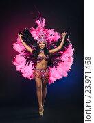 Купить «Симпатичная молодая девушка в ярком розовом карнавальном костюме на темном фоне», фото № 23971468, снято 24 января 2015 г. (c) Евгений Захаров / Фотобанк Лори