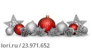 Купить «Новогодние украшения: шарики, шишки и звездочки», фото № 23971652, снято 13 августа 2016 г. (c) Евгений Захаров / Фотобанк Лори