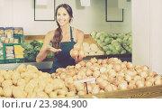 Купить «portrait of woman in apron selling unpeeled onions», фото № 23984900, снято 19 сентября 2018 г. (c) Яков Филимонов / Фотобанк Лори