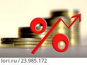 Купить «Красный знак процента на фоне денег.  Концепция изменения банковских ставок», фото № 23985172, снято 22 октября 2016 г. (c) Сергеев Валерий / Фотобанк Лори