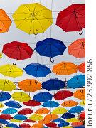Купить «Красочные зонтики в небе», фото № 23992856, снято 30 июня 2016 г. (c) Виталий Батанов / Фотобанк Лори