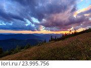 Купить «Summer sunset mountain view (Carpathian, Ukraine).», фото № 23995756, снято 20 августа 2016 г. (c) Юрий Брыкайло / Фотобанк Лори