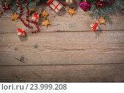 Купить «Christmas background with decorations», фото № 23999208, снято 28 октября 2016 г. (c) Типляшина Евгения / Фотобанк Лори