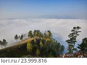 Утренний туман над долиной реки. Стоковое фото, фотограф Михаил Зверев / Фотобанк Лори