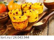 Купить «Тыквенные кексы с пшеном и изюмом», фото № 24043944, снято 31 октября 2016 г. (c) Надежда Мишкова / Фотобанк Лори