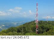 Вышки с антеннами связи на горе Большой Ахун, Сочи. Стоковое фото, фотограф Игорь Долгов / Фотобанк Лори