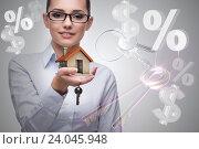 Купить «Businesswoman in real estate mortgage concept», фото № 24045948, снято 23 февраля 2020 г. (c) Elnur / Фотобанк Лори
